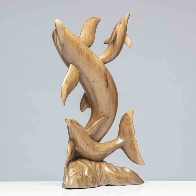 Delfinenfamilie | Holzskulptur