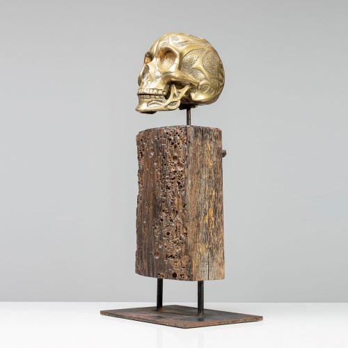 "Skulptur Schädel ""GOLD"" |..."