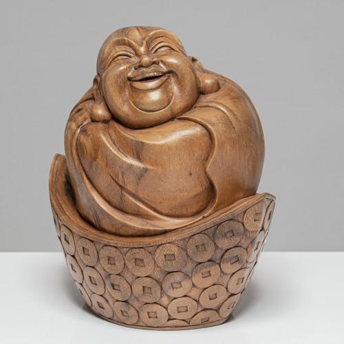 "Holzskulptur ""HAPPY BUDDHA""..."