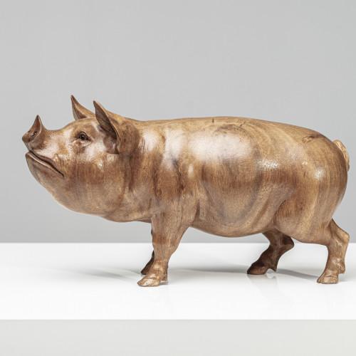 Holzskulptur Schwein