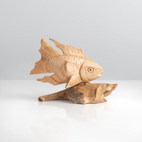 """Holzfigur """"Fisch auf Wurzel"""""""